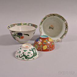 Four Enameled Porcelain Bowls