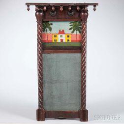 Small Carved Mahogany and Mahogany Veneer Tabernacle Mirror