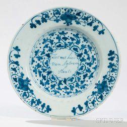 Dutch Delft Blue and White Motto Plate