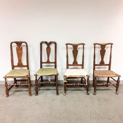 Four Country Queen Anne Maple Side Chairs