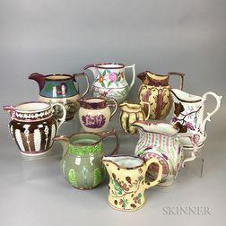 Ten Pink Lustre Ceramic Jugs