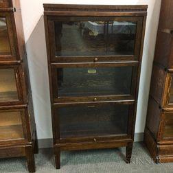 Lundstrom Glazed Walnut Veneer Three-stack Barrister Bookcase