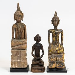 Three Southeast Asian Carved Wooden Buddhas