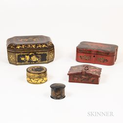 Five Asian Lacquerware Boxes