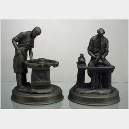 "Two Wedgwood Black Basalt ""Skills of the Nation"" Series Figures"