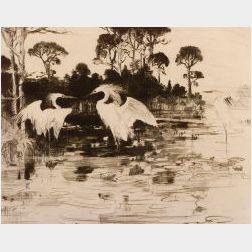 Frank Weston Benson (American, 1862-1951)  Water Lilies,