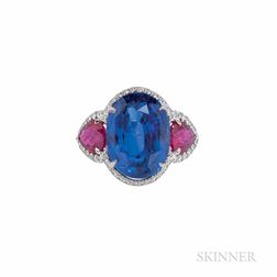 Platinum, Sapphire, and Ruby Ring