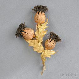 18kt Gold Thistle Brooch, Buccellati