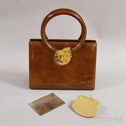 Martin Van Schaak Coated Brown Leather Handbag
