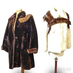 Two Fur Coats and Fur Scarves