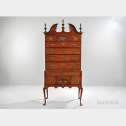 Walnut and Maple Fan-carved Scroll-top High Chest of Drawers