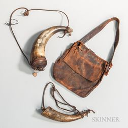 Leather Hunting Pouch and Two Powder Horns