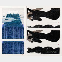 Tadashige Nishida (b. 1942), Six Woodblock Prints