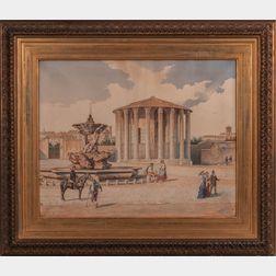 Roberto Gigli (Italian, 1846-1922)      At the Fountain before the Temple of Vesta, Rome