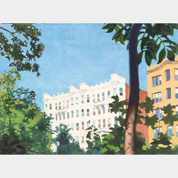 Ed Stitt (American, 20th/21st Century)    White Building On the Fenway