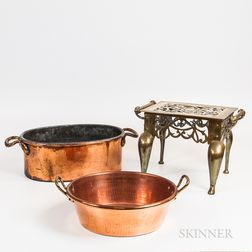 Brass Footman and Two Large Copper Pans