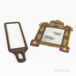 Painted Tin Mirror and a Wooden Mirror