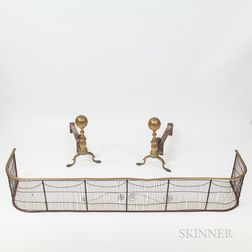 Pair of Brass Ball-top Andirons and Firescreen.     Estimate $200-250