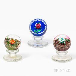 Three Miniature Kazian Floral Paperweights
