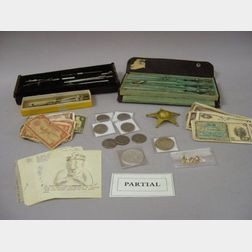 Collection of Asian Currency, Foreign Coins, Twenty-one U.S. Half Dollars, Five 1922-1927 Silver Dollars, a 1988 U.S. Silver Dollar, Fo