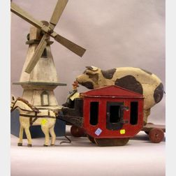 Carved and Painted Toy Wooden Stage Coach and Pig Pull Toy, and a Painted Wooden   Windmill Whirligig