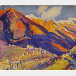 Margaret Jordan Patterson (American, 1867-1950)      Mountains in Early Spring  /A Spanish Landscape