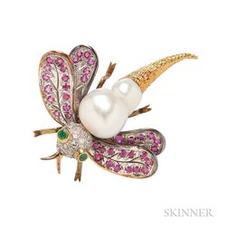 18kt Gold and Baroque Cultured Pearl Dragonfly Brooch