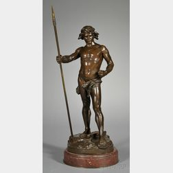 Leon Roussel (French, 1868-1943),   Large Bronze Figure of a Warrior, Defense du Sol