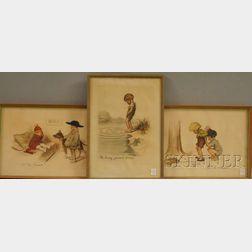 "Lot of Three Framed Georges Redon Etchings,   ""Ah! les femmes!...,"" ""Ah! les Hommes!...,"""