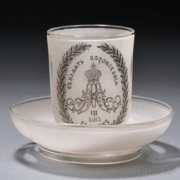 Tsar Alexander III Commemorative Glass Beaker and Saucer