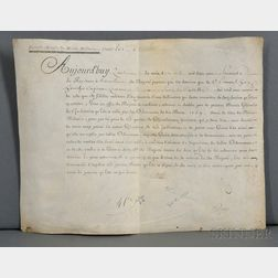 Louis XV of France (1710-1774) Military Commission Signed, 4 April 1760, Versailles.