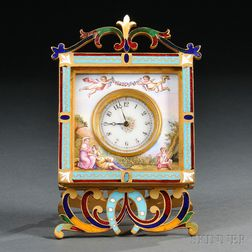 Gilt-metal and Enamel Boudoir Clock