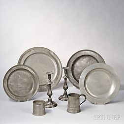Eight Early Pewter Items
