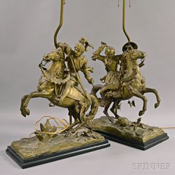 Pair of Gilt-metal Figural Table Lamps