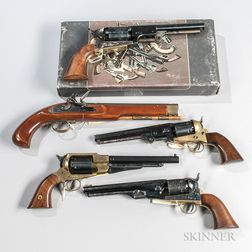 Four Reproduction Black Powder Revolvers and a Black Powder Flintlock Pistol