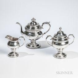 Assembled Three-piece American Coin Silver Tea Service