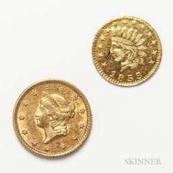 1853 Gold Dollar and a California Gold Souvenir Token.     Estimate $100-150