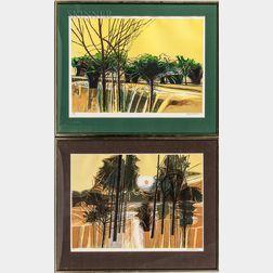 Garrick Palmer (British, b. 1933)      Two Framed Landscapes