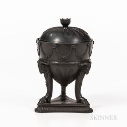 Wedgwood Black Basalt Tripod Vase and Cover