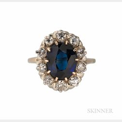 Gold, Synthetic Sapphire, and Diamond Ring