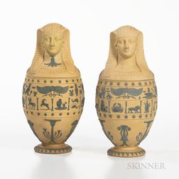 Pair of Wedgwood Caneware Canopic Jars and Covers