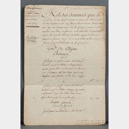 Louis XVI of France (1754-1793) Signed Receipt, 28 February 1775.