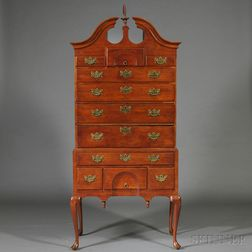 Queen Anne Walnut Carved Scroll-top High Chest of Drawers