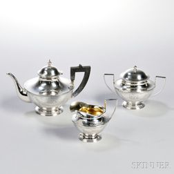 Three-piece Barbour Silver Co. Sterling Silver Tea Service