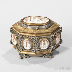 Continental Cameo-mounted Bronze Casket