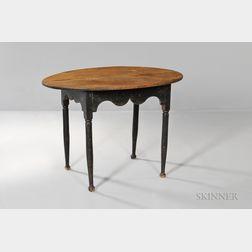 Black-painted Oval Scrub-top Tea Table