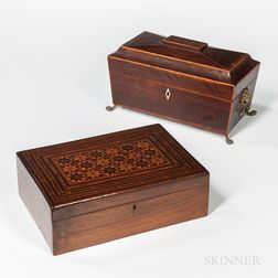 Regency Sarcophagus-form Tea Caddy and a Marquetry Box