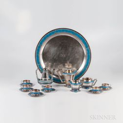 Eleven-piece Norwegian .930 Silver and Cloisonne Enamel Coffee Service