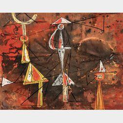 René Portocarrero (Cuban, 1912-1985)      Three Figures
