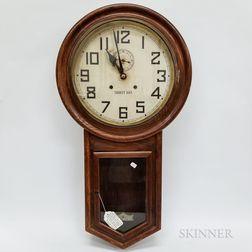 Two Waterbury Clock Co. Drop Octagonal Schoolhouse Wall Clocks